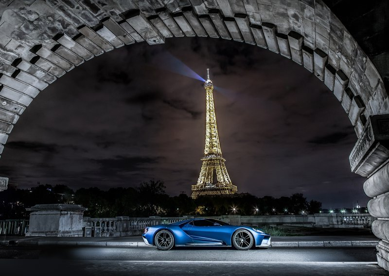 2017 Ford GT near the Eiffel Tower in Paris